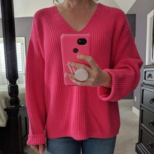 H&M Bright Pink Cotton Sweater
